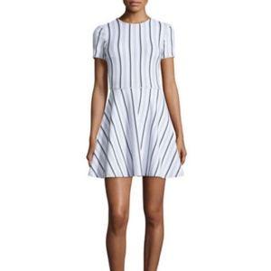 black white striped knit fit n flare dress